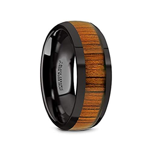 Thorsten Linden Domed Style Black Ceramic Wedding Ring with Koa Wood Inlay and Polished Beveled Edges Comfort Fit Lightweight Durable Wooden Wedding Band Rings - 8mm