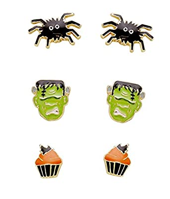 Rosemarie Collections Women's Set of 3 Earrings Halloween Costume Frankenstein Spider Cupcake
