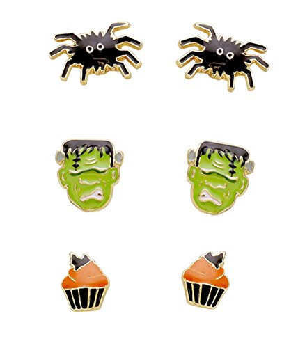 Costume Hostess Cupcake (Rosemarie Collections Women's Frankenstein and Spider Halloween Stud Earrings)