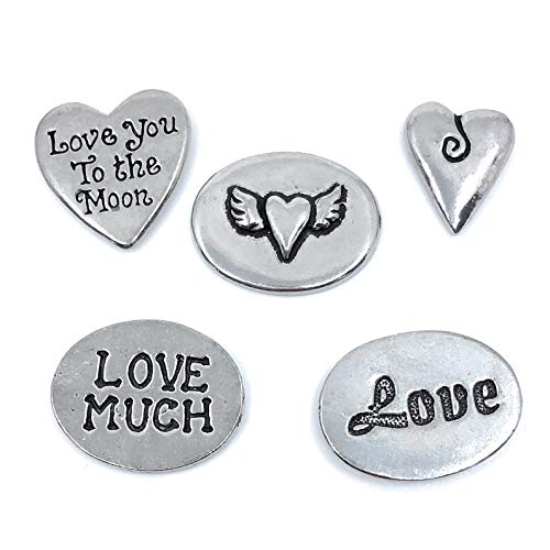 Shaped Charms Pewter - Basic Spirit Heart Love Valentines Pewter Charms Pocket Tokens Coins