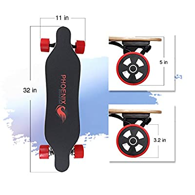 PHOENIX RYDERS Electric Skateboard Max Range 9 Miles, Top speed 14 MPH, Dual 350 W Hub Motors Electric Longboard with Remote Controller,Wolf by PHOENIX RYDERS