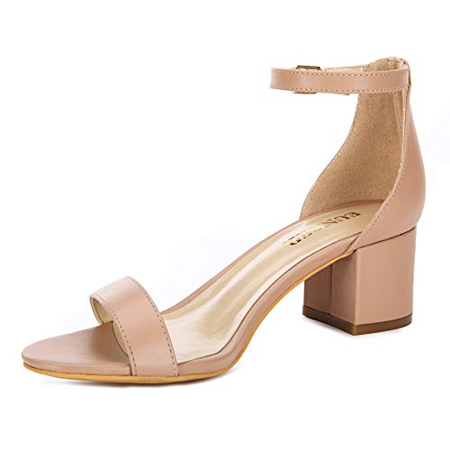 Eunicer Women's Single Band Classic Chunky Block Low Heel Sandals with Ankle Strap Dress Shoes,Nude Pu,9 B(M) US