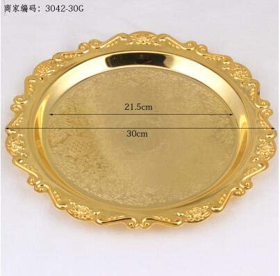 Silverware Tray - carved round alloy metal tray plate for cake pastry desserts fruits sugars dishes wedding home hotel tableware decoration SG081
