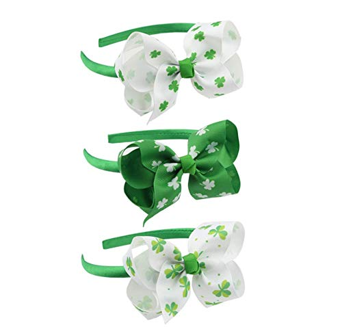Astra Gourmet Set of 3 St Patrick's Day Shamrock Party Bow Accessories Headband for Baby Girls