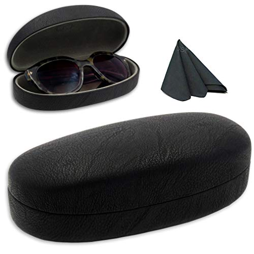 Hard Sunglasses Case w/Microfiber Drawstring Pouch & Cleaning Cloth | Protects Glasses w/Medium & Large Frames | Classic Black Finish | Metal Clamshell | AS113 Black