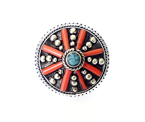 Lapislázuli, Coral y turquesa Gemstone hecho a mano étnica tibetana anillo para las mujeres oxidado anillo de plata por...