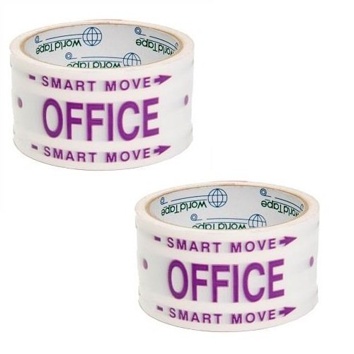 Office Printed Easy Move 2'' x 30 Yards Moving & Storage Box Carton Packing Tape 2 Pack