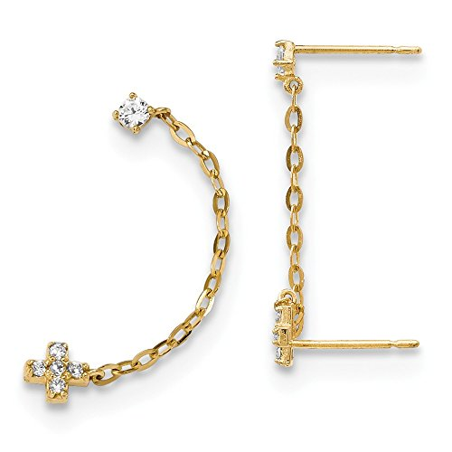 14k Yellow Gold Double Post Stud Chain Cubic Zirconia Cz Cross Religious Earrings Single Drop Dangle Fine Jewelry Gifts For Women For Her Drop Single Stone Post Earrings