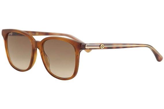 9944b5362d3 Image Unavailable. Image not available for. Color  Gucci GG 0376S 004 Light  Havana Plastic Square Sunglasses Brown Gradient Lens