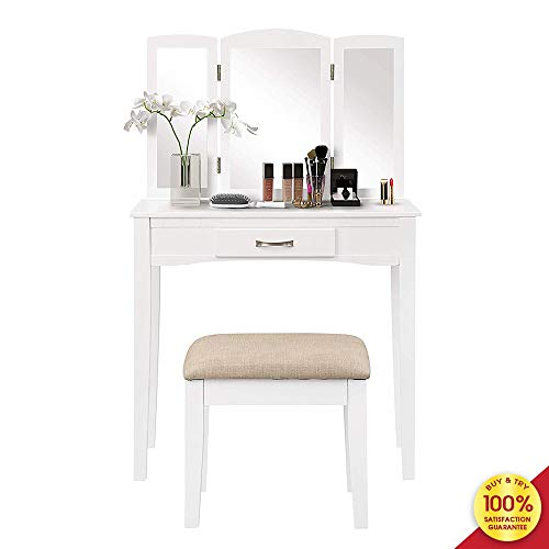 Designs Makeup Desk 1 Drawer Vanity Set Make-up Dressing Table with Mirror and Cushioned Stool White 2