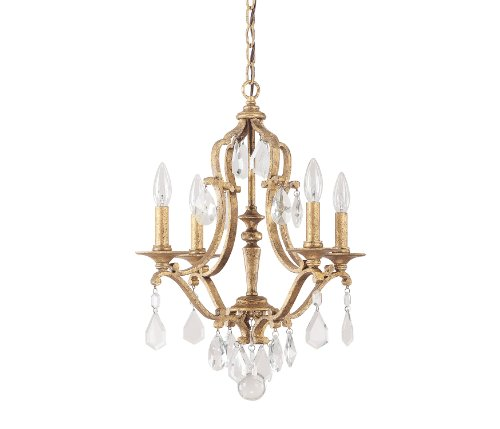Capital Lighting 4184AG-CR Blakely 4-Light Chandelier, Antique Gold Finish with Clear Crystal Accents