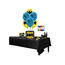 "Lego Batman Complete Birthday Party for 8 includes 9"" Plates, Napkins, Cups, Balloons, Tablecover, Cake Candles & Cutlery"