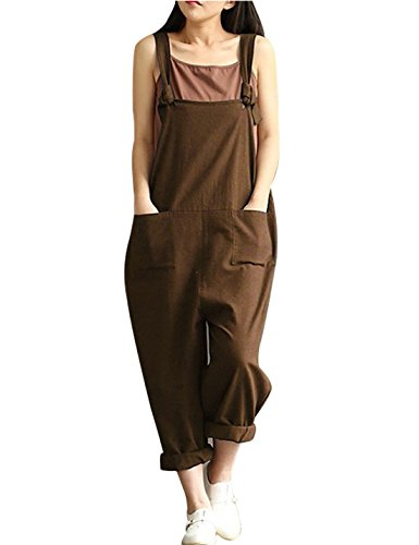 (Yeokou Women's Linen Wide Leg Jumpsuit Rompers Overalls Harem Pants Plus Size (Large, Style12Coffee))