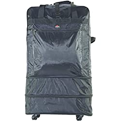 53002 Amaro 30 Inch High Grade Nylon Expandable Wheeled Bag Rolling Duffel Spinner Luggage(2015 Edition) (Black)