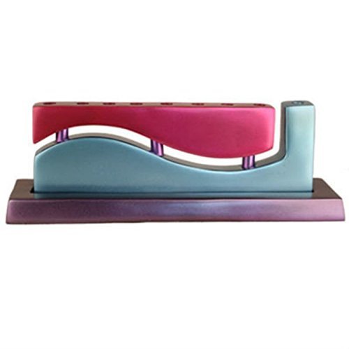 Anodized Aluminum Violet and Turquoise Wave Hanukkah Menorah By Yair Emanuel