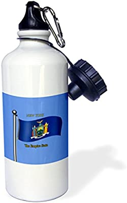 3dRose wb/_202009/_1 Waving Flag New York with State Name and Nickname Sports Water Bottle 21oz Multicolored