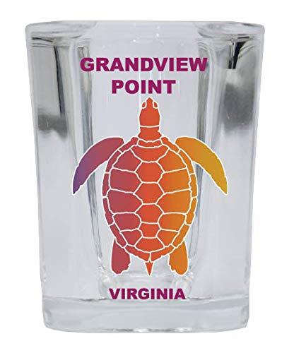 Grandview Square - GRANDVIEW POINT Virginia Square Shot Glass Rainbow Turtle Design