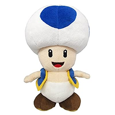 "Little Buddy Super Mario All Star Collection 1588 Blue Toad Stuffed Plush, 7"": Toys & Games"