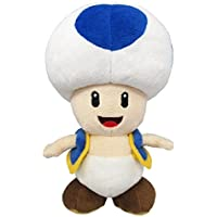 Little Buddy Super Mario All Star Collection 1588 Blue Toad Stuffed Plush, 7""