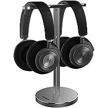 B&O Play Dual Headphone Stand, Jokitech Aluminum Slim Headphone Stand, Suitable for Beats, Sennheiser, Sony, Audio-Technica, Bose, Shure, AKG, JBL, Logitech, Razer Gaming Headphones and More -Grey