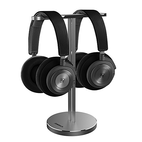B&O Play Dual Headphone Stand, Jokitech Aluminum Slim Headphone Stand, Suitable for Beats, Sennheiser, Sony, Audio-Technica, Bose, Shure, AKG, JBL, Logitech, Razer Gaming Headphones and More -Grey