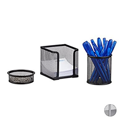 Relaxdays 3-Piece Metal Stationery Desk Organizer, Mesh, Note Box, Pen Holder and Paperclip Tray