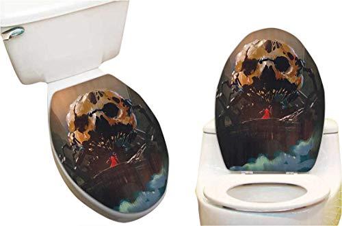 Toilet Seat Decal Wizard Villain Standing Skull Skelet Dark Supernatural Powers Toilet Vinyl Decal 14