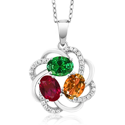 Build Your Own Pendant - Personalized 3 Birthstone Flower Blossom Pendant in Rhodium Plated 925 Sterling Silver