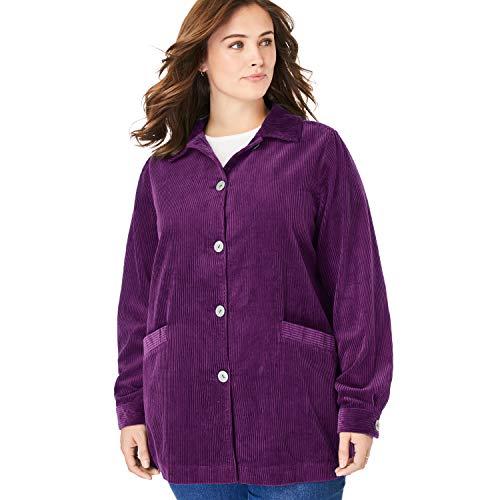 Woman Within Women's Plus Size Pleat-Back Corduroy Jacket - Plum Purple, M (Plums Corduroy Jacket)