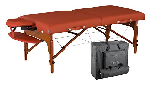 Master Massage 31″ Santana LX Portable Massage Table Package, Memory Foam Reiki Mountain Red