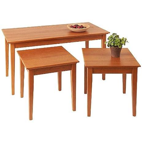 Manchester Wood Nesting Shaker Coffee Table Trio   Golden Oak