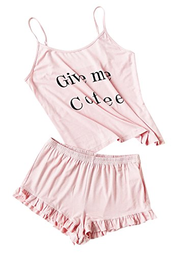 DIDK Women's Letter Print Cami and Shorts Pajama Set Pink -