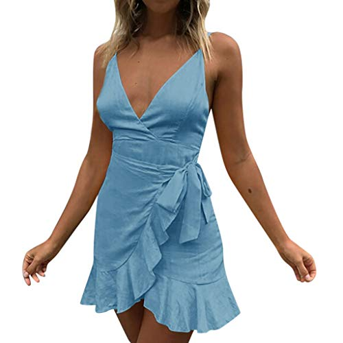 Mini Dress, Women Solid Sexy V-Neck Spaghetti Strap Tie Knot Front Ruffles Summer Casual Beach Party Swing Dress (XL, Blue) ()