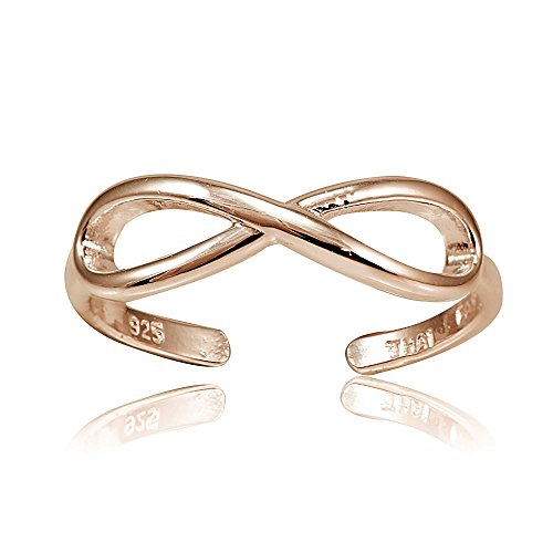 Hoops & Loops Sterling Silver Flash Plated Rose Gold Infinity Toe Ring - Opal Kids Ring