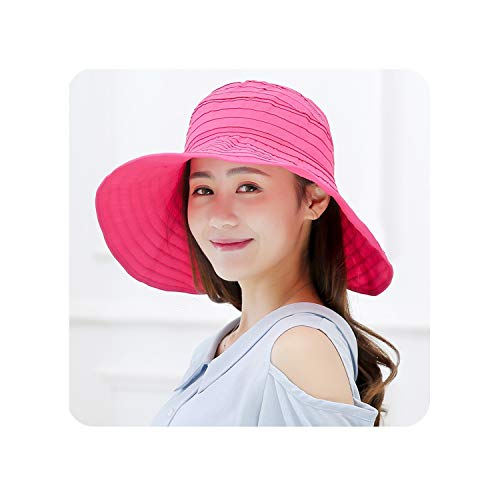 Summer Large Brim Sun Hat Solid Outdoor Beach Cap for Women Striped Breathable Uv Protection Caps,Hot Pink]()