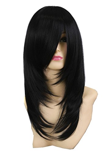 Icoser® Sexy Women Synthetic Hair Wigs Black Vogue Wig Costume Cosplay and a Wig Cap Black and a Hair -
