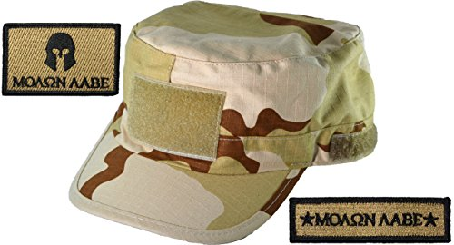 Tri Color Desert Camo Adjustable Fatigue Cap and Molon Labe Set Patch Coyote Tan