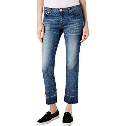 MICHAEL Michael Kors Womens Frayed Light Wash Straight Leg Jeans Denim - Blue Kors Light Michael
