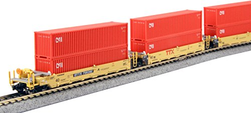 Double Stack Well Car (Kato USA Model Train Products N Gunderson MAXI-I Double Stack 5-Unit Well Car TTX New Logo #759392 Train)