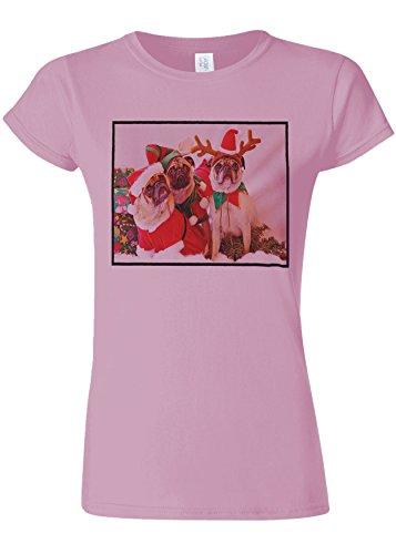 覚醒優しい生じるChristmas Pug Santa Funny Novelty Light Pink Women T Shirt Top-XXL
