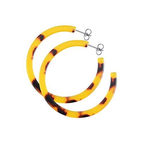 LUHE Tortoise Shell Hoop Earrings Sterling Silver Acrylic Resin Circle Statement Earrings for Women Girls, (Acrylic Resin Hoop Earrings)