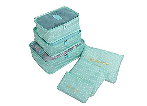 6 Pcs Travel Storage Bags,Luggage Organizer Bags,Travel Packing Cubes,Travel Luggage,Waterproof,Luggage Organizer Pouch(Green)
