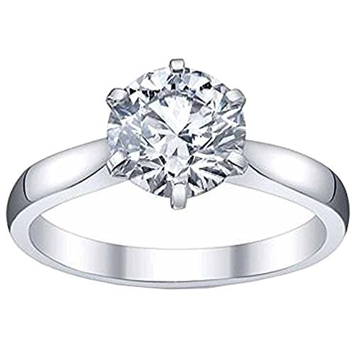 Platinium Ladies Solitaire Semi Mount Engagement Ring Can Hold a 1.00 CT Round Stone (No Center Stone) ()