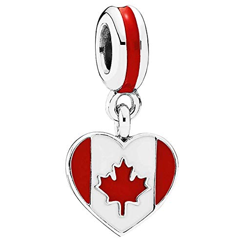 Pandora Canada Heart Flag Charm, Mixed Enamels 791954ENMX