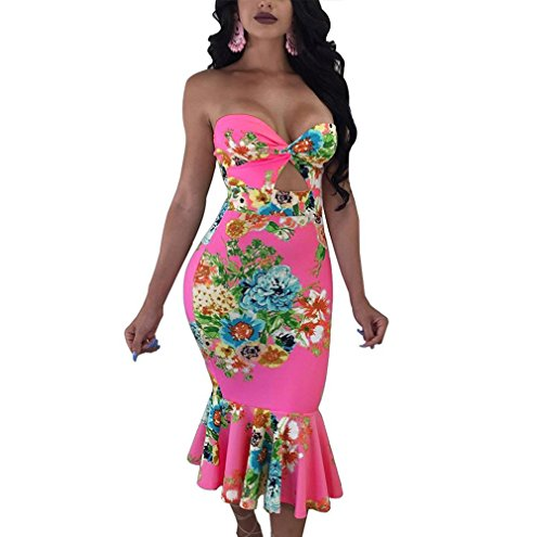 Dress Juniors Tube (Women's Floral Strapless Mermaid Mid-Calf Bodycon Tube Midi Dress XX-Large Rose)