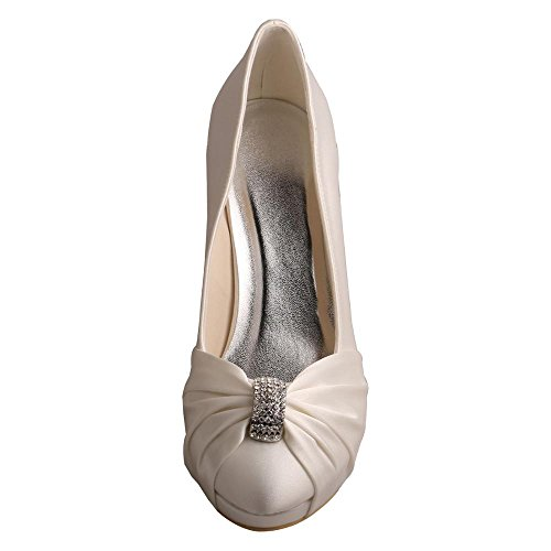 Wedopus MW643 Women's Punmps Round Toe High Heel Rhinestone Satin Wedding Party Bridal Shoes Ivory IdJf7RLuK