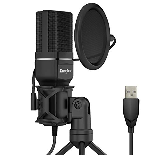Kungber USB Microphone Condenser for Computer, Gaming Recording PC Mic with Tripod Stand and Pop Filter Plug & Play for Podcast, Streaming, YouTube, Skype, Compatible with PC iMac Windows Mac OS Linux