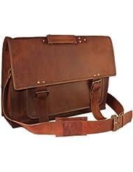 Handolederco. 18 Inch Retro Leather Briefcase Laptop Messenger Bag