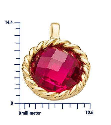 Miore Pendentif rond torsadé en or jaune 9 carats avec chaine pour femme 45 cm