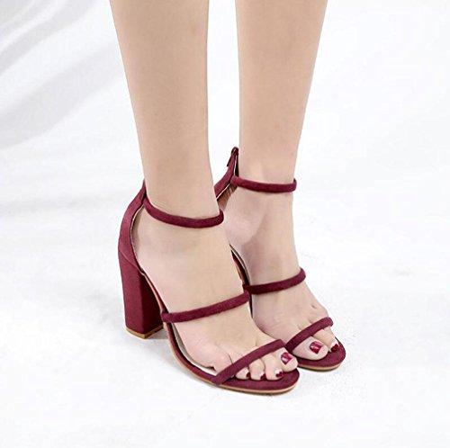 YAFAN 2018 verano sandalias de las mujeres tacones altos zapatos de tacón grueso continental negro vino tinto corbata abierta luz del dedo del pie de lujo vendajes maduros respirables red